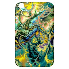 Flower Power Fractal Batik Teal Yellow Blue Salmon Samsung Galaxy Tab 3 (8 ) T3100 Hardshell Case  by EDDArt