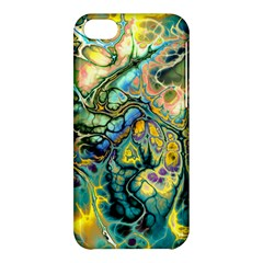 Flower Power Fractal Batik Teal Yellow Blue Salmon Apple Iphone 5c Hardshell Case by EDDArt