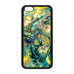 Flower Power Fractal Batik Teal Yellow Blue Salmon Apple Iphone 5c Seamless Case (black) by EDDArt