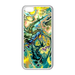 Flower Power Fractal Batik Teal Yellow Blue Salmon Apple Iphone 5c Seamless Case (white) by EDDArt