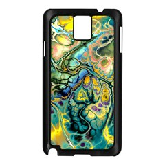 Flower Power Fractal Batik Teal Yellow Blue Salmon Samsung Galaxy Note 3 N9005 Case (black) by EDDArt