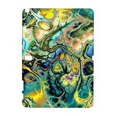 Flower Power Fractal Batik Teal Yellow Blue Salmon Galaxy Note 1 by EDDArt
