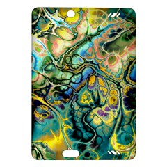 Flower Power Fractal Batik Teal Yellow Blue Salmon Amazon Kindle Fire Hd (2013) Hardshell Case by EDDArt