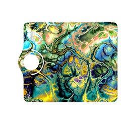 Flower Power Fractal Batik Teal Yellow Blue Salmon Kindle Fire Hdx 8 9  Flip 360 Case by EDDArt