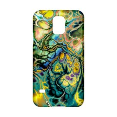 Flower Power Fractal Batik Teal Yellow Blue Salmon Samsung Galaxy S5 Hardshell Case  by EDDArt