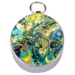 Flower Power Fractal Batik Teal Yellow Blue Salmon Silver Compasses by EDDArt