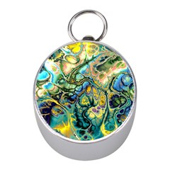 Flower Power Fractal Batik Teal Yellow Blue Salmon Mini Silver Compasses by EDDArt