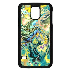 Flower Power Fractal Batik Teal Yellow Blue Salmon Samsung Galaxy S5 Case (black) by EDDArt