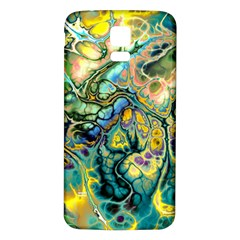 Flower Power Fractal Batik Teal Yellow Blue Salmon Samsung Galaxy S5 Back Case (white) by EDDArt