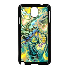Flower Power Fractal Batik Teal Yellow Blue Salmon Samsung Galaxy Note 3 Neo Hardshell Case (black) by EDDArt
