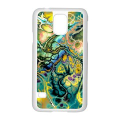 Flower Power Fractal Batik Teal Yellow Blue Salmon Samsung Galaxy S5 Case (white) by EDDArt
