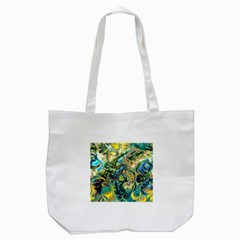 Flower Power Fractal Batik Teal Yellow Blue Salmon Tote Bag (white) by EDDArt