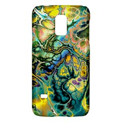 Flower Power Fractal Batik Teal Yellow Blue Salmon Galaxy S5 Mini by EDDArt
