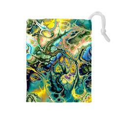 Flower Power Fractal Batik Teal Yellow Blue Salmon Drawstring Pouches (large)  by EDDArt