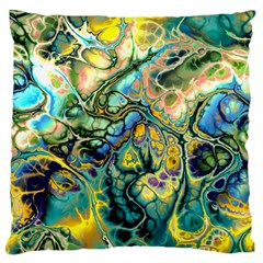 Flower Power Fractal Batik Teal Yellow Blue Salmon Large Flano Cushion Case (one Side) by EDDArt