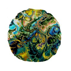 Flower Power Fractal Batik Teal Yellow Blue Salmon Standard 15  Premium Flano Round Cushions by EDDArt