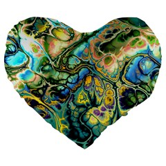 Flower Power Fractal Batik Teal Yellow Blue Salmon Large 19  Premium Flano Heart Shape Cushions by EDDArt