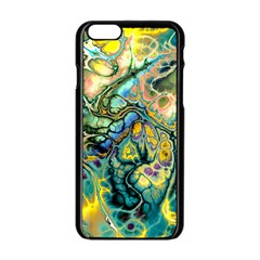 Flower Power Fractal Batik Teal Yellow Blue Salmon Apple Iphone 6/6s Black Enamel Case by EDDArt