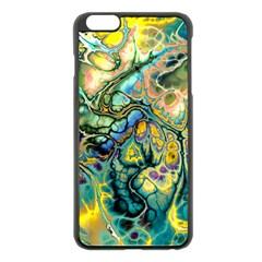 Flower Power Fractal Batik Teal Yellow Blue Salmon Apple Iphone 6 Plus/6s Plus Black Enamel Case by EDDArt