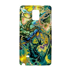 Flower Power Fractal Batik Teal Yellow Blue Salmon Samsung Galaxy Note 4 Hardshell Case by EDDArt