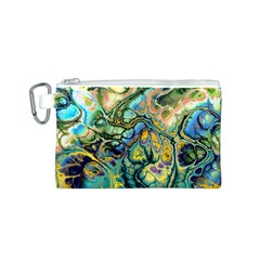 Flower Power Fractal Batik Teal Yellow Blue Salmon Canvas Cosmetic Bag (s) by EDDArt