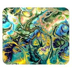 Flower Power Fractal Batik Teal Yellow Blue Salmon Double Sided Flano Blanket (small)  by EDDArt