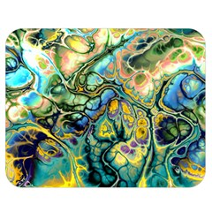 Flower Power Fractal Batik Teal Yellow Blue Salmon Double Sided Flano Blanket (medium)  by EDDArt