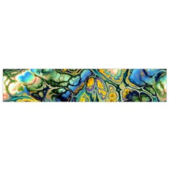 Flower Power Fractal Batik Teal Yellow Blue Salmon Flano Scarf (small) by EDDArt