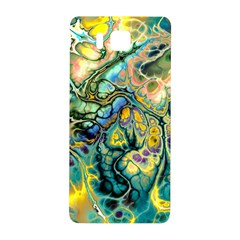 Flower Power Fractal Batik Teal Yellow Blue Salmon Samsung Galaxy Alpha Hardshell Back Case by EDDArt