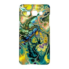 Flower Power Fractal Batik Teal Yellow Blue Salmon Samsung Galaxy A5 Hardshell Case  by EDDArt