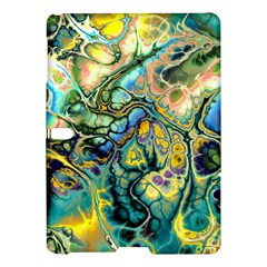 Flower Power Fractal Batik Teal Yellow Blue Salmon Samsung Galaxy Tab S (10 5 ) Hardshell Case  by EDDArt