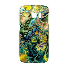 Flower Power Fractal Batik Teal Yellow Blue Salmon Galaxy S6 Edge by EDDArt