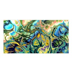 Flower Power Fractal Batik Teal Yellow Blue Salmon Satin Shawl by EDDArt
