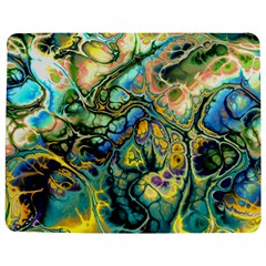 Flower Power Fractal Batik Teal Yellow Blue Salmon Jigsaw Puzzle Photo Stand (rectangular) by EDDArt