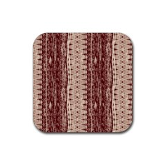Wrinkly Batik Pattern Brown Beige Rubber Coaster (square)  by EDDArt