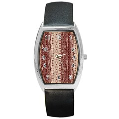 Wrinkly Batik Pattern Brown Beige Barrel Style Metal Watch by EDDArt