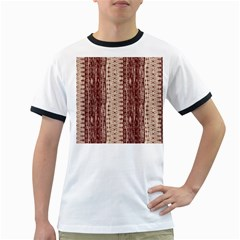 Wrinkly Batik Pattern Brown Beige Ringer T Shirts by EDDArt