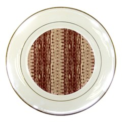 Wrinkly Batik Pattern Brown Beige Porcelain Plates by EDDArt