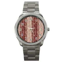 Wrinkly Batik Pattern Brown Beige Sport Metal Watch by EDDArt