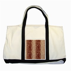 Wrinkly Batik Pattern Brown Beige Two Tone Tote Bag by EDDArt