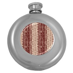 Wrinkly Batik Pattern Brown Beige Round Hip Flask (5 Oz) by EDDArt