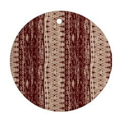 Wrinkly Batik Pattern Brown Beige Round Ornament (two Sides) by EDDArt