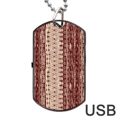 Wrinkly Batik Pattern Brown Beige Dog Tag Usb Flash (one Side) by EDDArt