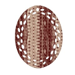 Wrinkly Batik Pattern Brown Beige Oval Filigree Ornament (two Sides) by EDDArt