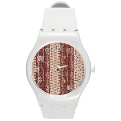Wrinkly Batik Pattern Brown Beige Round Plastic Sport Watch (m) by EDDArt