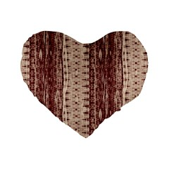 Wrinkly Batik Pattern Brown Beige Standard 16  Premium Heart Shape Cushions by EDDArt