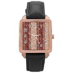 Wrinkly Batik Pattern Brown Beige Rose Gold Leather Watch  by EDDArt
