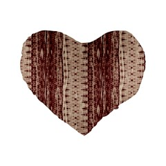 Wrinkly Batik Pattern Brown Beige Standard 16  Premium Flano Heart Shape Cushions by EDDArt