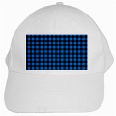 Lumberjack Fabric Pattern Blue Black White Cap by EDDArt