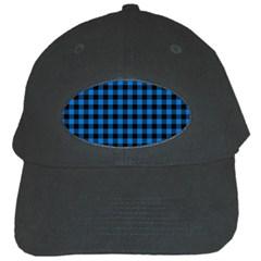 Lumberjack Fabric Pattern Blue Black Black Cap by EDDArt